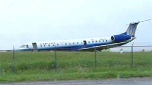 UA8050 after a runway excursion 16 June 2010. (CBC Photo).