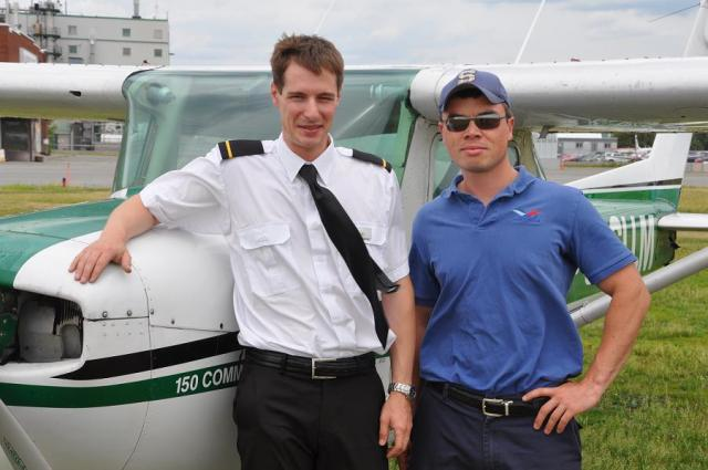 Brent and the proud instructor Jeff Davy after Brent's first solo.