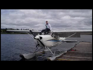 Weston Nicholson on the float plane and gets his rating.